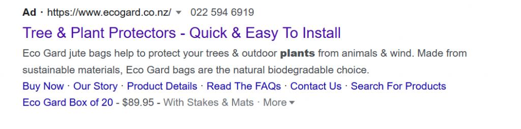 Eco Gard Google Search Ad